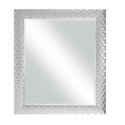 Polystyrene Wall Mirror with Octagonal Mosaic Pattern Metallic Silver - BM205959 By Casagear Home BM205959