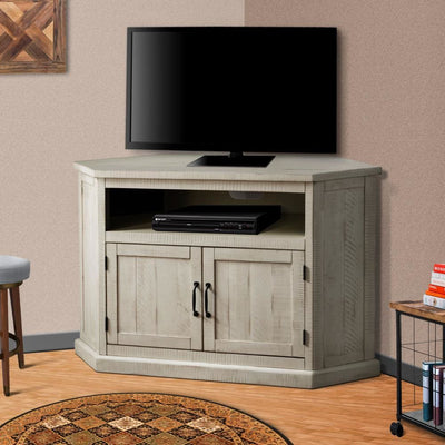 Rustic Style Wooden Corner TV Stand with 2 Door Cabinet White - BM205963 By Casagear Home BM205963