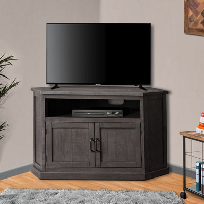 Rustic Style Wooden Corner TV Stand with 2 Door Cabinet Gray - BM205965 By Casagear Home BM205965