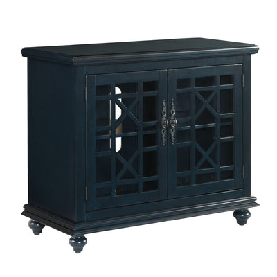 Transitional Wood and Glass TV Stand with Trellis Cabinet Front Dark Blue - BM205972 By Casagear Home BM205972