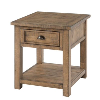 Coastal Style Square Wooden End Table with 1 Drawer Brown - BM205977 By Casagear Home BM205977