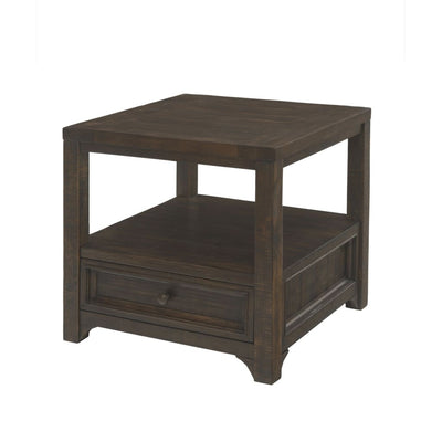 Rectangular Wooden End Table with 1 Drawer and 1 Open Shelf Brown - BM205983 By Casagear Home BM205983