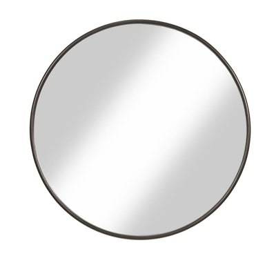 Contemporary Round Metal Framed Wall Mirror Small Bronze and Silver - BM205989 By Casagear Home BM205989