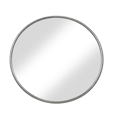 Contemporary Style Round Metal Framed Wall Mirror Large Antique Silver - BM205992 By Casagear Home BM205992