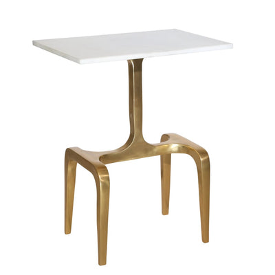 Rectangular Marble Top Accent Table with 4 Leg Support White and Gold - BM206081 By Casagear Home BM206081