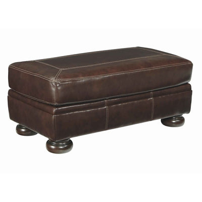 "44"" Stitched Oversized Accent Ottoman with Bun Feet, Brown By Casagear Home"