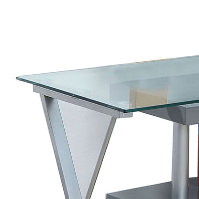 55 L-Shaped Convertible Desk with Glass Top Gray and Clear By Casagear Home BM206213