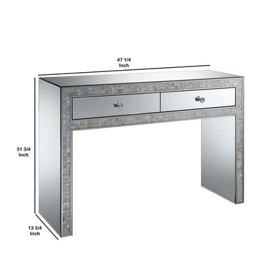 47 2-Drawer Dressing Table with Mirror Insets Silver By Casagear Home BM206232