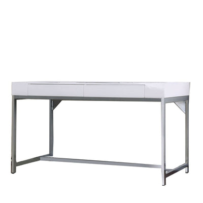54 2-Drawer Computer Desk with Metal Frame White and Silver By Casagear Home BM206236