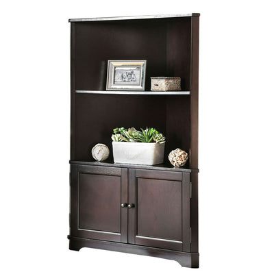 50 Corner Wooden Bookshelf with 2 Door Cabinet Brown By Casagear Home BM206244