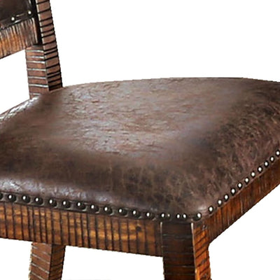 Cushioned Side Chair with Nailhead Trims Set of 2 Brown By Casagear Home BM206270