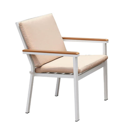 Cushioned Metal Outdoor Arm Chair, Set of 2, White and Brown By Casagear Home