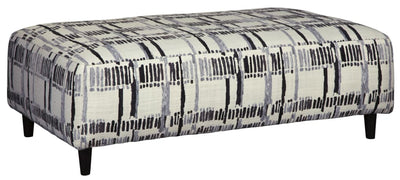 "52"" Upholstered Oversized Ottoman, Black and White By Casagear Home"