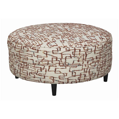 "37"" Round Fringe Print Upholstered Ottoman, Brown and Beige By Casagear Home"