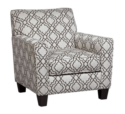 Upholstered Quatrefoil Print Accent Chair, Gray and White By Casagear Home