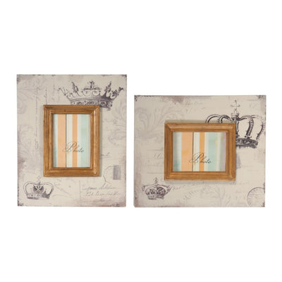 Traditional Style Rectangular Wooden Photo Frames Set of 2 Brown By Casagear Home BM206705