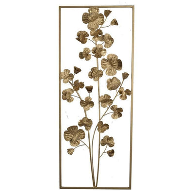 Contemporary Rectangular Metal Wall Art with Floral Plant Design Gold By Casagear Home BM206724