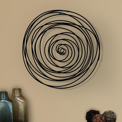 30 Round Spiral Metal Wall Decor Black By Casagear Home BM206729
