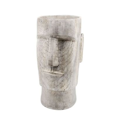 24 Totem Face Shaped Planter Gray By Casagear Home BM206748
