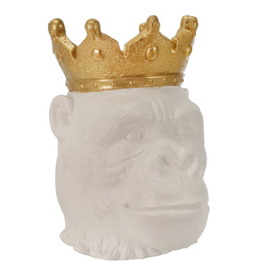 15 Gorilla Face with Crown Figurine Gold and White By Casagear Home BM206754