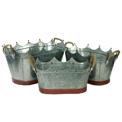 "20"" 3 Piece Crown Shape Metal Tub Set With Rope Handles, Gray By Casagear Home"