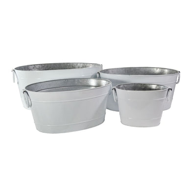 "24"" 4 Piece Metal Tub Set With Rope Ring Handles, White By Casagear Home"