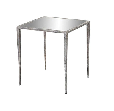 Mirror Top Metal Frame Side Table with Tapered Legs Silver - BM206947 By Casagear Home BM206947