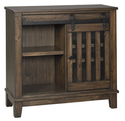 "36"" 2-Shelf Accent Cabinet with Slatted Sliding Door, Brown By Casagear Home"