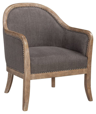 Upholstered Curved Back Accent Chair with Nailheads, Brown By Casagear Home