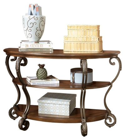 "48"" 3-Tier Sofa Table with Leaf Carvings, Brown and Bronze By Casagear Home"