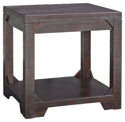 Rough Sawn End Table with Bottom Shelf, Brown By Casagear Home