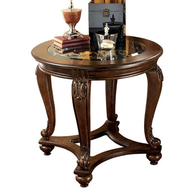 Glass Top Round End Table with Cabriole Legs, Brown By Casagear Home