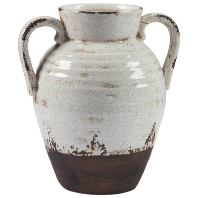 "14"" Amphora Shape Ceramic Decorative Vase, White and Brown By Casagear Home"