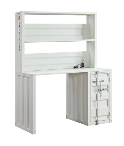 Metal Base Desk and Hutch with Slated Pattern and Storage Compartment, White - BM207433 By Casagear Home