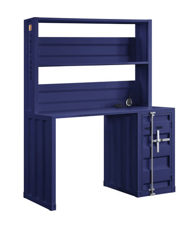 Metal Base Dusk and Hutch with Storage Space and Recessed Panels Blue - BM207441 By Casagear Home BM207441