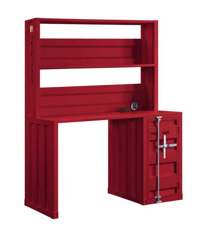 Industrial Style Desk and Hutch and Storage Space with Recessed Panel Red - BM207445 By Casagear Home BM207445