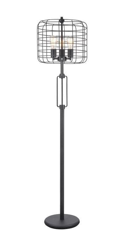 Metal Base Caged Shade Lamp with Open Design and Circular Base, Black - BM207453 By Casagear Home