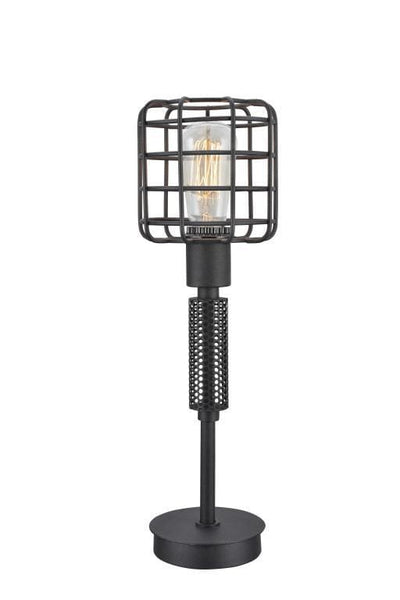 Contemporary Style Caged Shade Table Lamp with Mesh Pattern, Black - BM207454 By Casagear Home