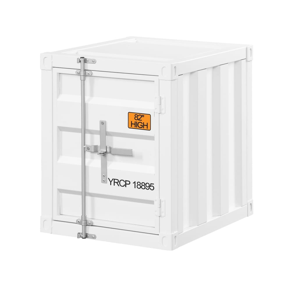 Industrial Style Metal Cargo End Table with Openable Door, White - BM207464 By Casagear Home