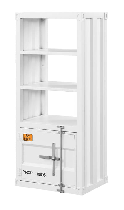 Industrial Style Metal Right Side Pier with 3 Open Shelves, White - BM207476 By Casagear Home