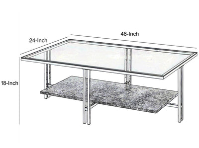 Coffee Table with Metal Leg Base and Open Shelf Silver and Clear - BM207513 By Casagear Home BM207513