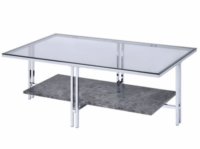 Coffee Table with Metal Leg Base and Open Shelf, Silver and Clear - BM207513 By Casagear Home