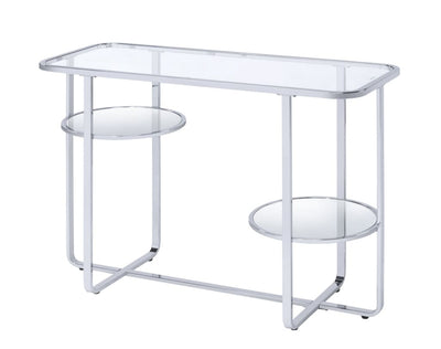 Contemporary Metal Sofa Table with Glass Top, Silver and Clear - BM207516 By Casagear Home