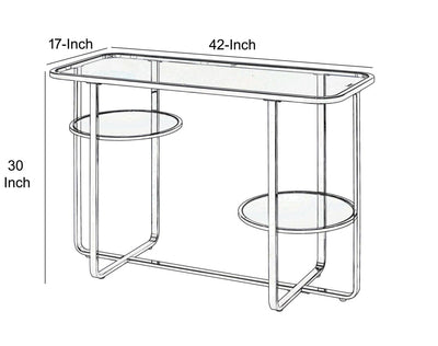 Contemporary Metal Sofa Table with Glass Top Silver and Clear - BM207516 By Casagear Home BM207516