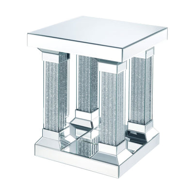 Sparkling End Table with Faux Diamonds and Beveled Edge, Silver - BM207520 By Casagear Home