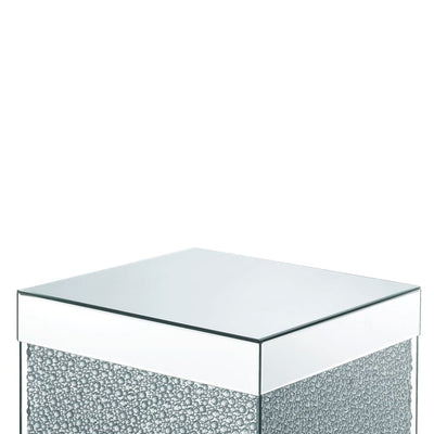 Contemporary Square Wooden End Table with Faux Crystal Inlays Silver - BM207522 By Casagear Home BM207522