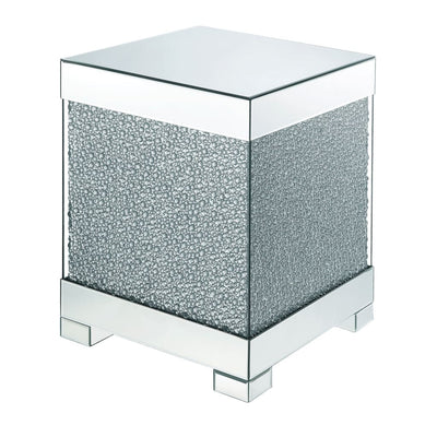 Contemporary Square Wooden End Table with Faux Crystal Inlays, Silver - BM207522 By Casagear Home