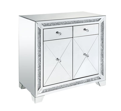 Wooden Console Table with Storage Spaces and Faux Diamond Inlay, Silver - BM207530 By Casagear Home