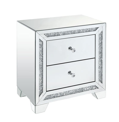 Wooden Night Table with Storage Spaces and Crystal Knobs, Silver - BM207532 By Casagear Home
