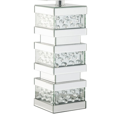 Contemporary Square Table Lamp with Pedestal Mirrored Base White and Clear - BM207534 By Casagear Home BM207534